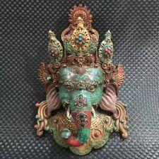 Antique Tibet bronze Turquoise Inlay statue Elephant god Geneisha Mask