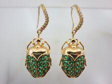 Egyptian Scarab Earrings - Costume Jewelry Green Glass Stones Gold Tone