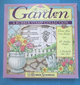 THE COUNTRY GARDEN Rubber Stamp Set FLOWERS Bird FENCE Stones FOAM MOUNTED