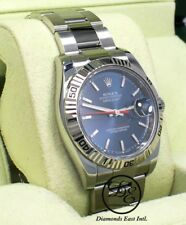 Rolex Datejust 116264 Turn-O-Graph Blue Dial 18K White Gold Bezel B/PAPERS *MINT