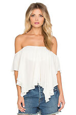 140800 New Free People Merpati High Low Off Shoulder Ivory Semi Crop Top S US