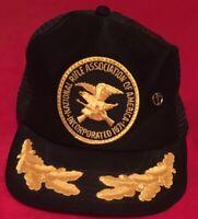 VTG NRA Oak Leaf Snapback Trucker Hat Mesh Cap Foam Black Gold With Cross Pin