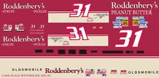 #31 Steve Grissom Roddenbery's Olds 1/64th Ho Scale Slot Car Waterslide Decals