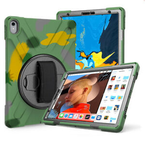 For iPad Air 3rd gen Air1 2 Hybrid Rugged Shockproof Hand Strap Stand Case Cover