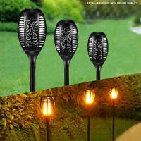 96 Led Torch Solar Light Patio Garden Waterproof Dancing Flickering Flame Lamp