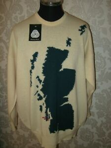 "LYLE AND SCOTT VINTAGE ""MAP OF SCOTLAND""CREW NECK SWEATER : ERA 1980-90."