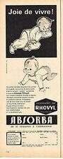 PUBLICITE ADVERTISING 084  1962  ABSORBA RHOVYL  layette pyjamas enfants