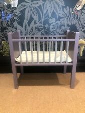 Vintage Dolls Cot Bed Painted In Farrow And Ball