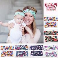 2PCS Womens Girls Kids Flower Rabbit Bow Knot Turban Headband Hair Band Headwrap