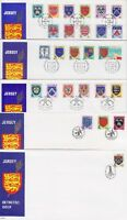 Jersey FDC Wappen 1981 - 1982, 1987 - 1988 auf 5 FDCs 1981, frist day cover