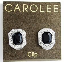 CAROLEE New York 'Royal Redeux' Jet Emerald-Glass Silver-Tone Clip On Earrings