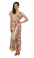 Polyester V Neck Tunic Floral Dresses for Women
