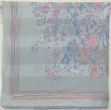 "TERRIART Pastel Blue, Pink, Yellow Flowers Sheer Stripes 30"" Sq Scarf-Vintage"