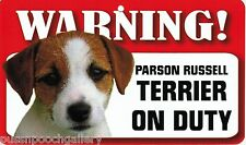 """Warning """"Parson Russell Terrier"""" on Duty-Laminated Cardboard Dog Breed Sign"""