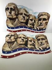Vintage Patriotic Mount Rushmore 4 of July cardboard die cut 1986 Lot Of 2