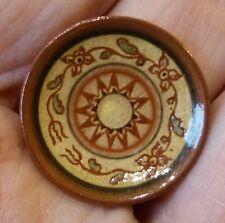 IGMA Artisan Jane Graber Miniature Redware Sgraffito Sunburst Plate: 1:12 Scale