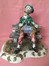 Very Large Capodimonte Ornament Man On Bench Playing Accordion Made In Italy