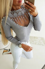 Ladies Long Sleeve Fashion Sexy Tight Fit Lace Knit Slim Top Casual T-shirt Top