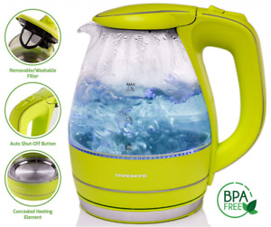 Ovente KG83 Series 1.5L Glass Cordless Durable Washable Green Electric Kettle