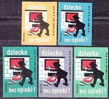 POLAND 1968 Matchbox Label - Cat.Z#889 set, Child without care!