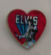ELVIS PRESLEY HEART SHAPED VINTAGE METAL PIN BADGE FROM THE 1980's RETRO