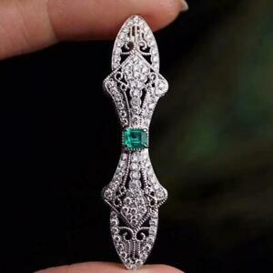 Solid 14K White Gold Natural Diamond Green Colombia Emerald Brooch Women Jewelry