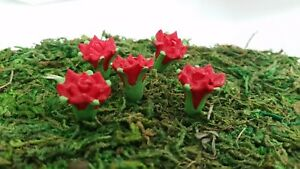 Miniature Dollhouse Fairy Garden Red Flowers set of 5
