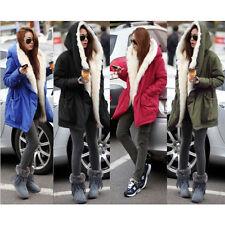 Women Ladies Winter Long Warm Thick Parka Faux FLEECE Fur Jacket Hooded Coat UK