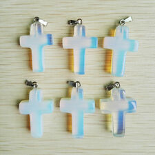 Opalite Cross Pendant, Hand Carved, Christian Jewelry, Gifts