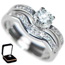 Ring Set (2 Rings) Size 5,6,7,8,9,10 1.13Ctw Round Brilliant Stones - Wedding