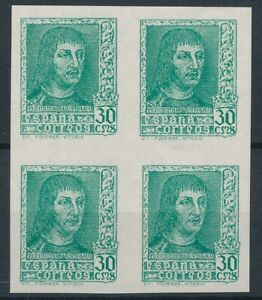 [4007] Spain 38 Ferdinand bloc 4 Imperf Colour proof VF MNH. Emerald Green