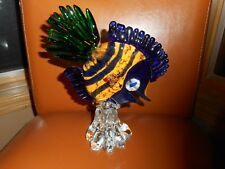 "ART GLASS FISH SCULPTURE ITALY 8 1/2"" HIGH"