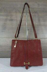 Fossil Burgundy Pebbled Leather Slim Flap Crossbody Shoulder Bag Messenger Bag