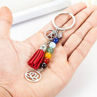 Tassel Lotus 8mm Beads Key Chain Ring Keychain Family Gift jewelry new.—+SFHW_JO