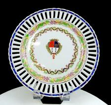 """AUSTRIAN PORCELAIN BEEHIVE RETICULATED ARMORIAL HEAVY 9.75"""" WALL PLATE 1850s"""