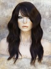 HUMAN HAIR Blend Wig Wavy Darkest Brown Heat Safe Bangs WBMS 2