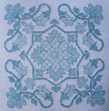 KL170 Floral Blackwork Kit inspired by William De Morgan Tile Design