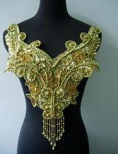 BD15 Fringed Sequin Bead Applique Gold Floral BodiceTutu/Belly Dance/Samba