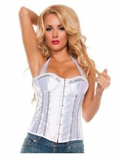 Starline - Women's Sequin Trimmed Lace Up Halter Corset - White - Size Small