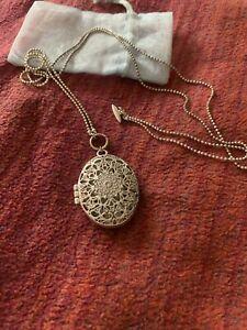 Pilgrim Large Filigree Silver Locket Necklace.  Double Length