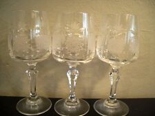 SET OF 3 QUEEN'S LACE BOHEMIAN CUT CRYSTAL GOBLETS 8oz WINE GLASS RIBBED STEM