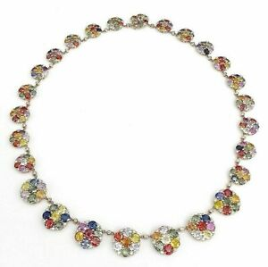 89.50 Carats t.w. Diamond and Rainbow Sapphire Dinner Necklace 14K Rose Gold