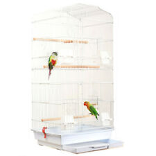 """New listing 37"""" Bird Parrot Cage Bird Cage with Wood Perches & Food Cups White"""