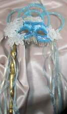 "HANDMADE ""ONE OF A KIND"" TEAL ORIGINAL MASQUERADE  MARDI GRAS WITH HANDLE"