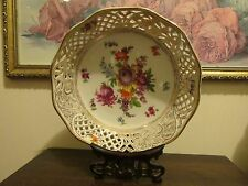 Dresden Porcelain Germany Reticulated Bowl Flowers Gold