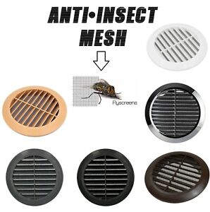 """Circle Air Vent Grill Cover Round Ducting Ventilation Fly Net Wall Ceiling 4"""" 5"""""""