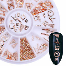 Ocean Theme Rose Gold Nail Art Studs Starfish Feather Shell Manicure in Wheel