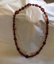 "Vintage Faux Amber Necklace-Honey Color w/Black Bead Spacers-30"""