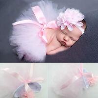 AU_ Newborn Toddler Baby Girl Tutu-Skirt Flower Headband Photo Prop Costume Outf