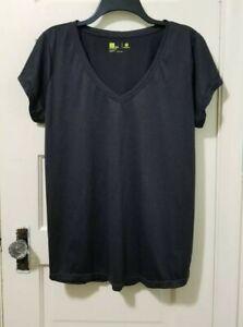 Womens Xersion Athletic Top Shirt PLUS XXL 2X Dark Gray Short Sleeve V Neck  EUC